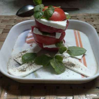 Photo of Tomato, tofu and basil salad (helpful in weight loosing) by pallavi Nayyar at BetterButter