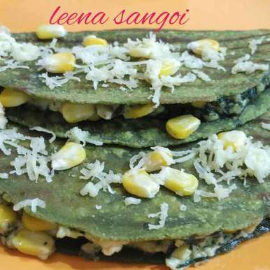 Photo of Corn palak paneer quesidillas..(mexican recepie) by Leena Sangoi at BetterButter