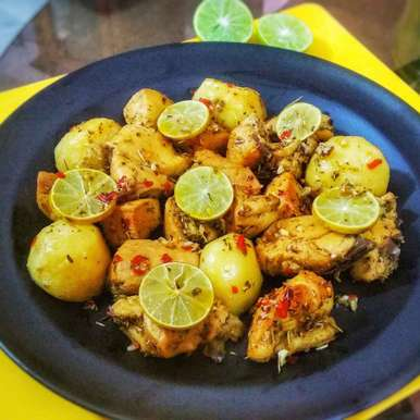 Photo of Greek lemon garlic chicken and potatoes by Lopamudra Mukherjee at BetterButter
