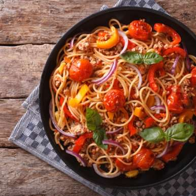 Photo of Spaghetti with vegetables and mince meat by Madhulata Juneja at BetterButter