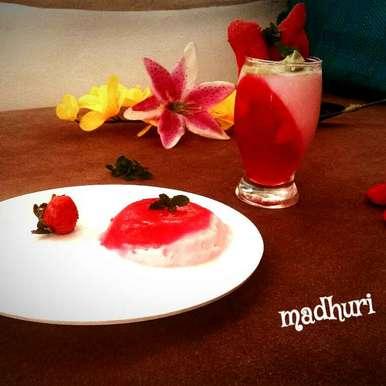 Straberry panna cotta recipe in Hindi,स्ट्रॉबेरी पन्ना कोटा, Madhuri Jain