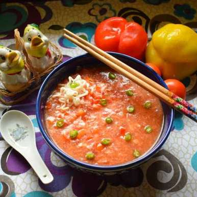 Photo of Tomato Egg Drop Noodle Soup by Manami Sadhukhan at BetterButter
