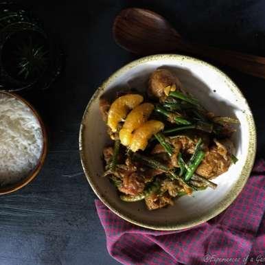 Photo of Peyajkoli Komola Murgi (Chicken with Oranges and Onion Stalks) by Maumita Paul Ghosh at BetterButter
