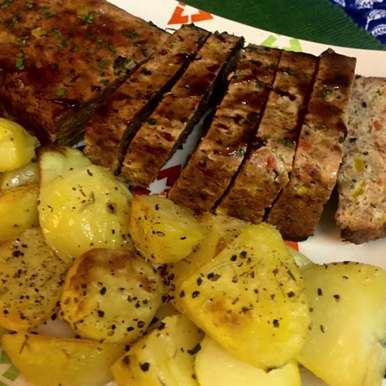 Photo of Chicken Meatloaf with Roast potatoes. by Megha Vikram Singh at BetterButter
