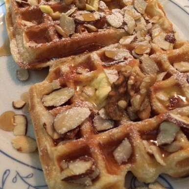 Photo of Banana Waffles with Butterscotch Sauce by Mehak Sharma at BetterButter