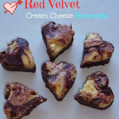 Photo of Red Velvet Cream Cheese Brownies by Menaga Sathia at BetterButter