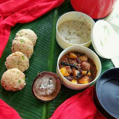 Photo of Stuffed Vegetable Rava Idli with Coconut Chutney and Dry Potato Curry in South Indian Style by Moumita Nandi at BetterButter