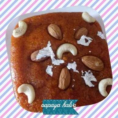 Ripe papaya halvo. recipe in Gujarati, પાકા પપૈયા નો હલવો, Naina Bhojak