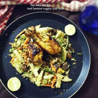 Photo of Pan fried chicken And Sauteed veggies with Rice by Nilanjana Bhattacharjee Mitra at BetterButter