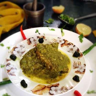 Bekti fish in coriander and mustard grav recipe in Bengali,সরষে সবুজ ভেটকি, Nilanjana Bhattacharjee Mitra
