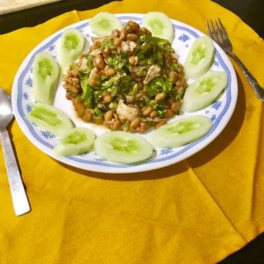 Photo of boiled chicken and baked bean salad by Nilanjana Bhaumik at BetterButter