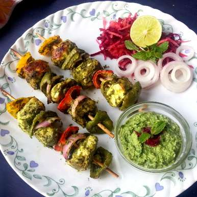 Photo of Hara Bhara Paneer Tikka / Indian Cottage Cheese in Green Marinade by Poonam Bachhav at BetterButter