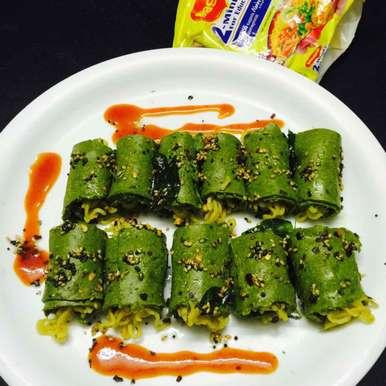 Maggi stuffed in spinach khandvi, How to make Maggi stuffed in spinach khandvi