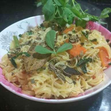 Semiya fenugreek leaves Pulav recipe in Telugu,సేమియా మేతి పులావ్, Pravallika Srinivas