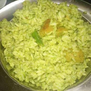 Basil leaves Rice recipe in Telugu,తులసి ఆకుల అన్నం, Pravallika Srinivas