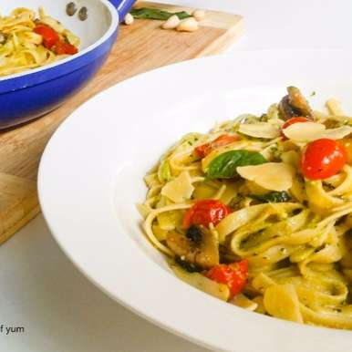 Photo of Cherry Tomato & Pesto Fettuccine by Priti Shetty Naiga at BetterButter