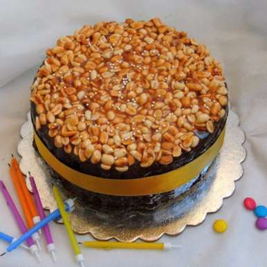 Photo of Caramel Peanuts Topped Brownie Cake by Priya Suresh at BetterButter