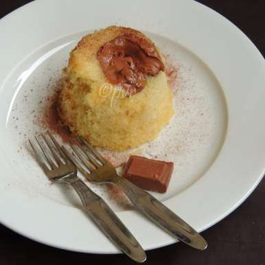 Photo of Eggless Vanilla Mug Cake with Milk Chocolate by Priya Suresh at BetterButter
