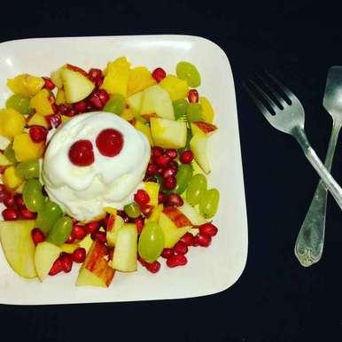 Photo of fruit salad with ice cream. by Priyanka Nandi Sarkar at BetterButter