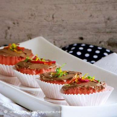 Photo of Eggless Microwave Strawberry Muffins with Chocolate Buttercream Icing by Lubna Karim at BetterButter