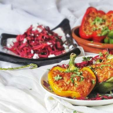 Photo of Stuffed peppers with colorful salad by Tasneem Rajkotwala at BetterButter