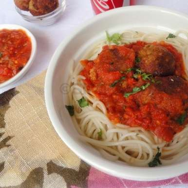 Photo of Spaghetti Cheese Balls with Tomato Sauce by Preeti Garg at BetterButter