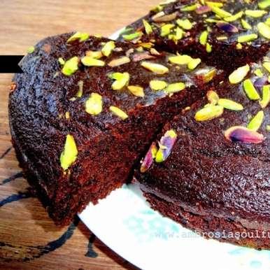 Photo of Eggless Olive Oil Dark Chocolate Whole Wheat Pistachio Cake by Namita Tiwari at BetterButter