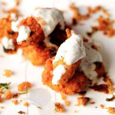Photo of Curry Crumb Fried Chicken - With a Garlic-Yoghurt Dip by Shanti Petiwala at BetterButter