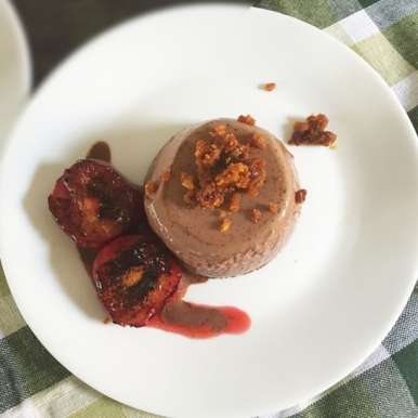 Photo of Chocolate Panna Cotta, Chargrilled Plums & Honeycomb Dust by Vijetha Rangabashyam at BetterButter