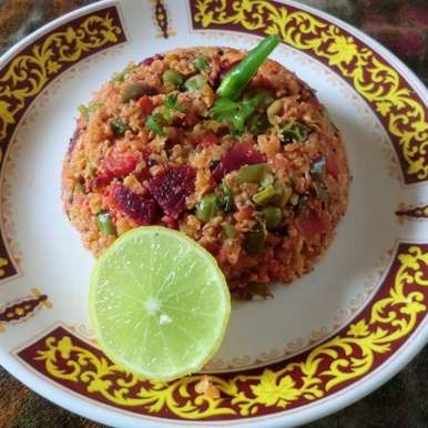 Photo of Oats upma with beetroot and vegetables by Hem Lata Srivastava at BetterButter