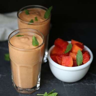 Photo of Fruity Papaya Buttermilk Oat Smoothie by Deeba Rajpal at BetterButter