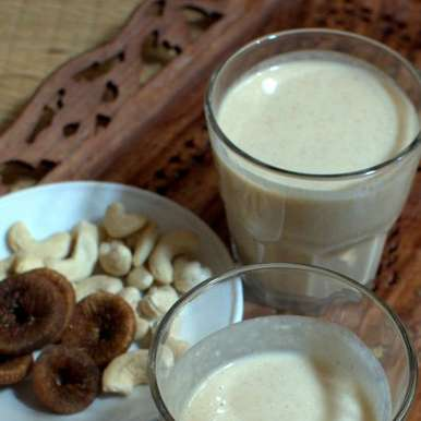 Photo of cashew milk and fig smoothie by sangeeta khanna at BetterButter