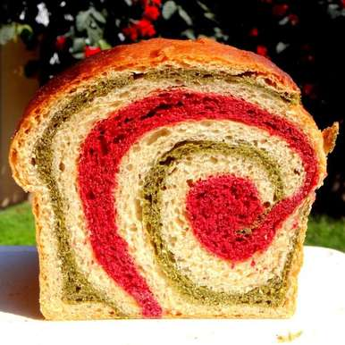 Photo of Whole Wheat Beet and Spinach Swirl Bread (Vegan) by Namita Tiwari at BetterButter
