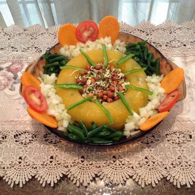 Photo of Orange Aspic with greens & Sprouts by usha balagopal at BetterButter
