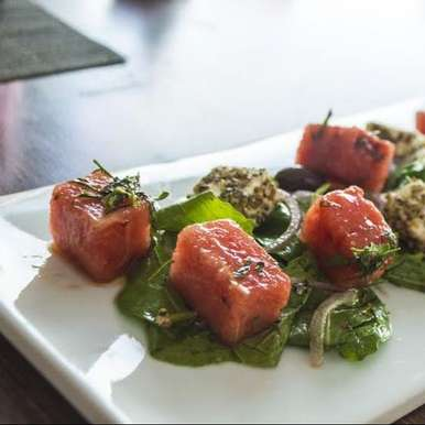 Photo of Watermelon salad with pepper spice feta and mint vinaigrette by Tanveer Kwatra at BetterButter