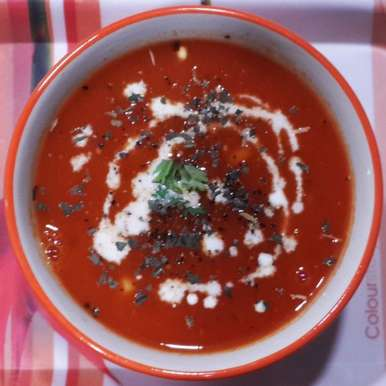 Photo of Restaurant Style Cream of Fresh Tomato Soup with Herbs by Vibha Bhutada at BetterButter