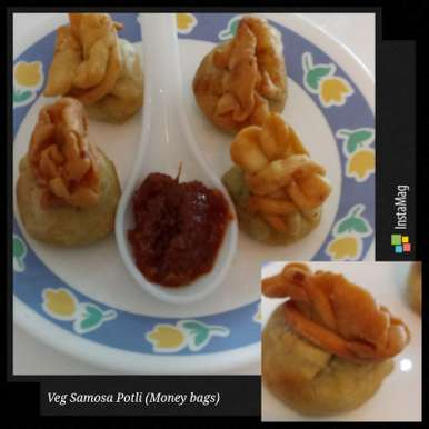 Veg Samosa Potli (Money bags), How to make Veg Samosa Potli (Money bags)