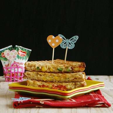 Photo of Cheesy Sweetcorn grilled sandwiches by Lubna Karim at BetterButter