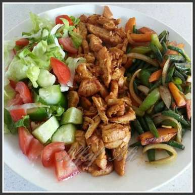 Chicken strips and Sautéed veggies., How to make Chicken strips and Sautéed veggies.