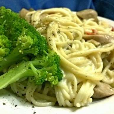 Photo of Pasta in garlic mushroom sauce with sausages by Girish Masur at BetterButter