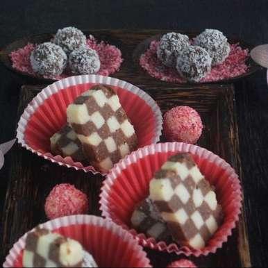 Photo of Chocolate coconut checkerboard barfi by Neelima Katti at BetterButter