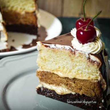 Photo of Vanilla Caramel Chocolate Cake with Dulce de leche (DDL) frosting and ganache by Febina Farook at BetterButter
