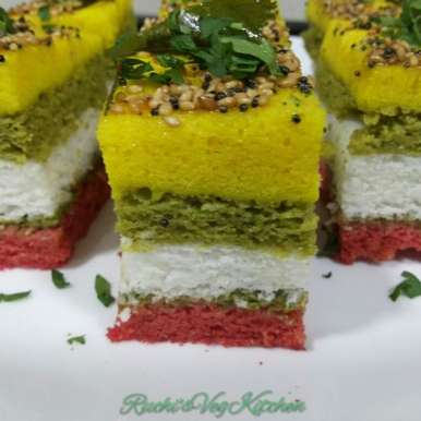 Photo of Multi colour sandwich dhokla by Ruchi Shah at BetterButter
