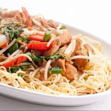 Photo of Pan fried Noodles with Spicy Chicken by Ruchira Hoon at BetterButter