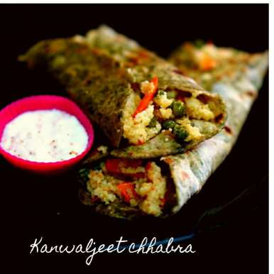 Photo of Cous cous spinach wrap with hung curd dip by Kanwaljeet Chhabra at BetterButter