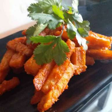 Photo of Schezwaan sweet potato. by Rajni Anand at BetterButter