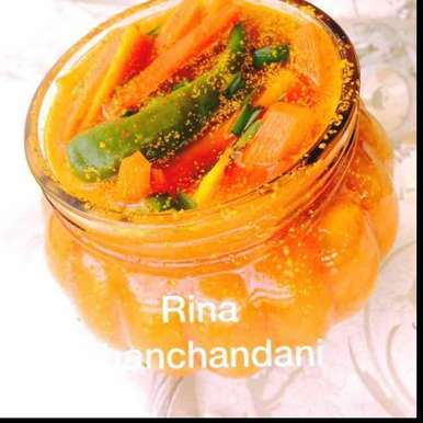 Photo of Instant tangy spicy oil free carrots pickle by Rina Khanchandani at BetterButter