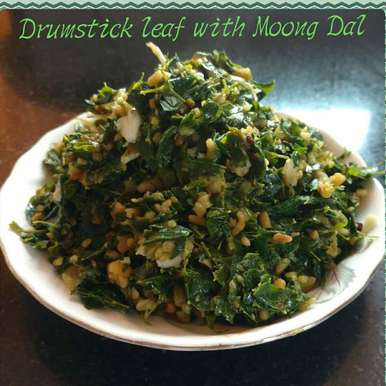 Drumstick leaf with Moong Dal(Saga Muga), How to make Drumstick leaf with Moong Dal(Saga Muga)