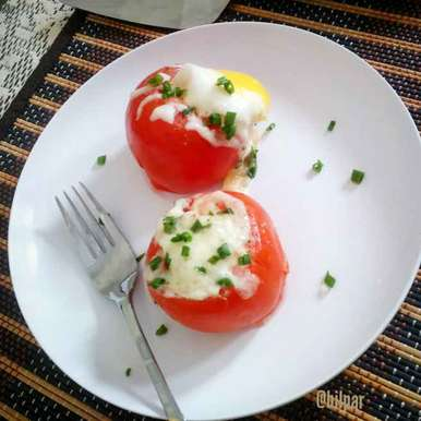Egg stuffed Tomato recipe in Bengali,এগ স্টাফড টম্যাটো, Sabrina Yasmin