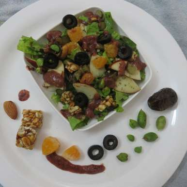 Photo of Rocky Green Chana Salad With Cranberry Dressing by Salma Godil at BetterButter